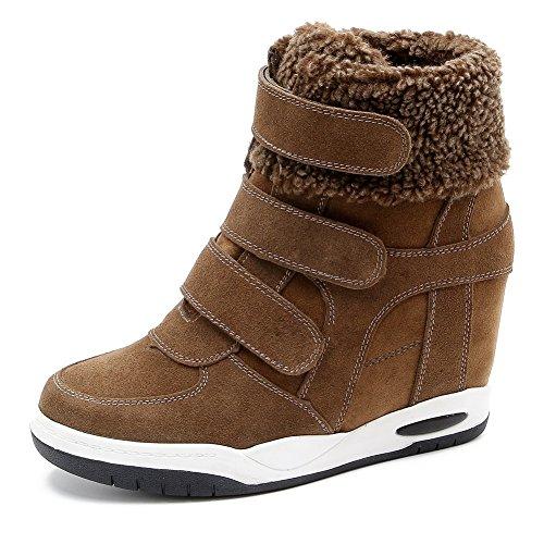Platform Brown Top Slip Shoes Casual Sole Wedge Toe Round Heel For Hidden MAC Sneakers Womens U Rubber High Anti wUE8qnnZT