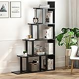 Tribesigns 5-Shelf Ladder Corner Bookshelf, Modern Simplism Style 63 '' H x 12'' W x 40''L, Made of Steel and Wood, for Living Room or Hallway (Black)