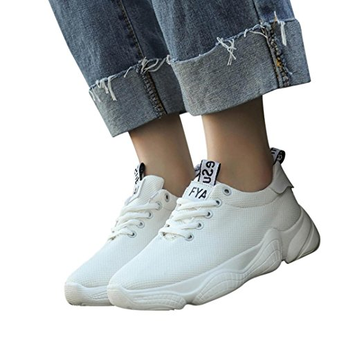 Kinrui Womens Tennis Sneakers Casual Lace Up Comfortable Soles Platform Sports Walking shoes (White, US:8) by Kinrui