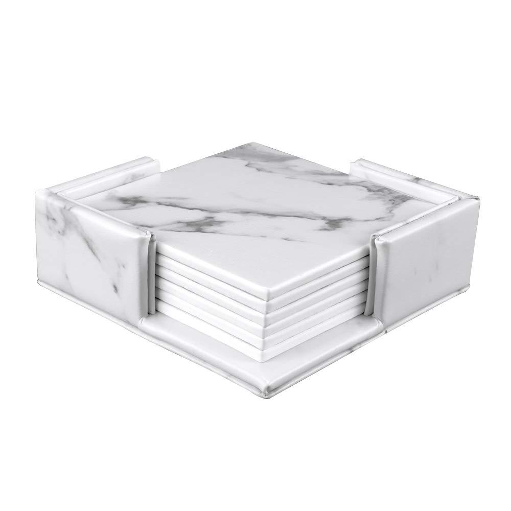 SanPlus ドリンクコースター 6枚セット ホルダー付きコースター レザーコースター 大理石デザイン 家具を水の跡や傷から保護  正方形 B07HD4544B