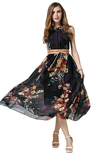 Printed Chiffon Long Dress - 6