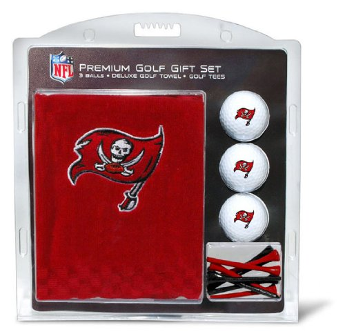 Team Golf NFL Tampa Bay Buccaneers Gift Set Embroidered Golf Towel, 3 Golf Balls, and 14 Golf Tees 2-3/4