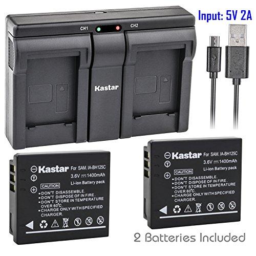 Kastar 2X Battery + USB Dual Charger for Samsung IA-BH125C Ricoh DB-65 Sigma BP-41 Pentax D-Li106 Samsung HMX-R10 Ricoh GR GR-II GR-III GR-IV G700 GR Digital Sigma DP3M DP2 Merrill Pentax MX-1 X90
