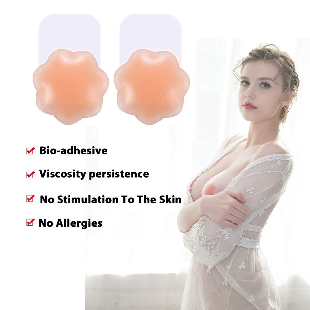 ROSE BRA Reusable Breast Lift Petals Nipple Covers Silicone Nippleless Covers Self Adhesive Sticky Pasties for Women 4 inch