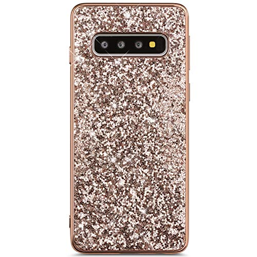 IKASEFU Compatible with Samsung Galaxy S10 Plus Case Flash Back Shockproof Luxury Glitter Sparkly Bling Cute Shiny PC+Soft TPU silicone Thin Bumper Protective plating Cover,rose -