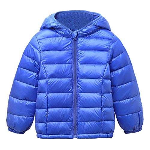 Royal Jacket Windproof Jacket Zipper Thin Coats Hooded BESBOMIG Winter Blue Down Kids Boys Girls Warm Unisex Lightweight Outerwear a4wtZXtq