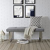 Oliver Stainless Steel Grey Velvet Bench | Button Tufted | Chrome Legs | Living-room Entryway | Modern & Contemporary by Inspired Home