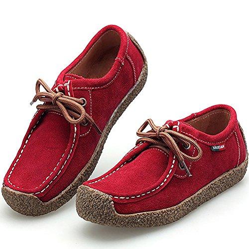 Odema Mujeres Cómodo Zapatos Planos De Cuero Genuino Casual Lace Up Walking Sneakers Rojo
