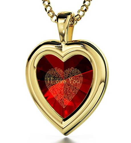 Yellow Gold Plated Heart Pendant I Love You Necklace 120 Languages 24k Inscribed Red Cubic Zirconia, 18