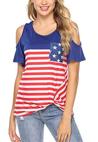 - MOPOOGOSS Women Clothing Tops Cold Shoulder Scoop Neck Colder Shoulder Side Twist Knotted Tunic Shirt T-Shirts with Pocket Amenrican Flag Printing Large