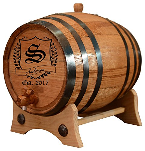 (1 Liter) Personalized - Vintage Customized American White Oak Aging Barrel - Barrel Aged 51Er4RZLVWL