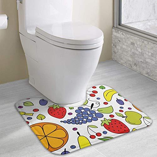 Fruits, Berries and Vegetables U-Shaped Toilet Floor Rug Non-Slip Toilet Carpets Bathroom Carpet 19.2″x15.7″