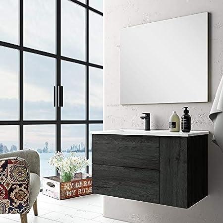Aquore | Mueble de Baño con Lavabo y Espejo | Mueble Baño Modelo Eban 2 Cajones y 1 Puerta | Muebles de Baño | Diferentes Acabados Color | Varias Medidas (Ebony, 120 cm): Amazon.es: Hogar