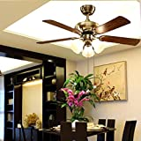 pendant chandelier Fan Light Ceiling Fan Light Living Room Dining Room Bedroom Lamp Home Atmosphere Modern Minimalist European Chandelier Copper Motor ( Color : Small )