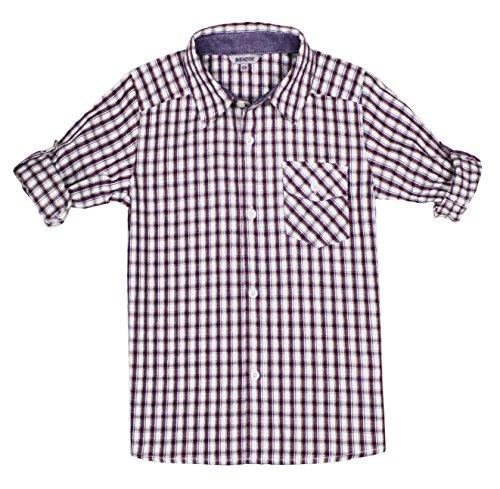 Bienzoe Boys Plaid Shirt Cotton Roll Up Sleeve Button Down Red White Sports Shirts ()