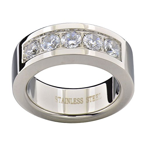 FlameReflection 8mm Men's Stainless Steel Ring Wedding Band Round CZ Pave Setting size 13 -