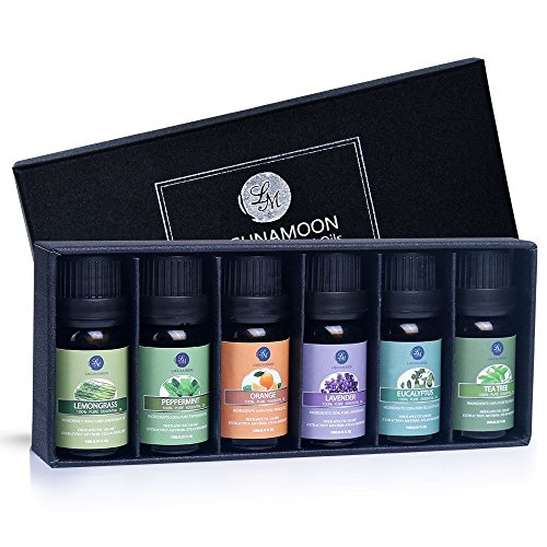 Lagunamoon Essential Oils Top 6 Gift Set Pure Essential Oils for Diffuser, Humidifier, Massage, Aromatherapy, Skin & Hair Care (Diffuser Gift Set)