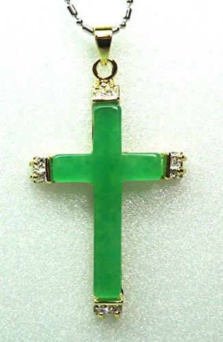 18k yellow Gold Plate ICY Green JADE Pendant god Jesus Cross w Free ()