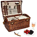 Lined Wicker Storage Basket with Picnic Supplies - Large 4-Person Picnic Supply Set with Lid and Insulated Cooler Bag for Outdoor Picnics, Beach Trips, Brown