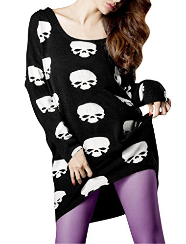 Allegra K Women Scoop Neck Skull Print Irregular Hem Loose Blouse