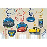 Disney Cars 3 Lighning McQueen Party Foil Hanging Swirl Decorations/Spiral Ornaments (12 PCS)- Party Supply Party Decorations