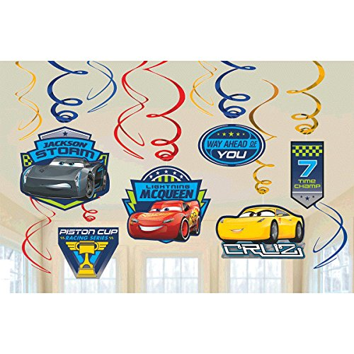 Disney Cars 3 Lighning McQueen Party Foil Hanging Swirl Decorations / Spiral Ornaments (12 PCS)- Party Supply, Party Decorations -