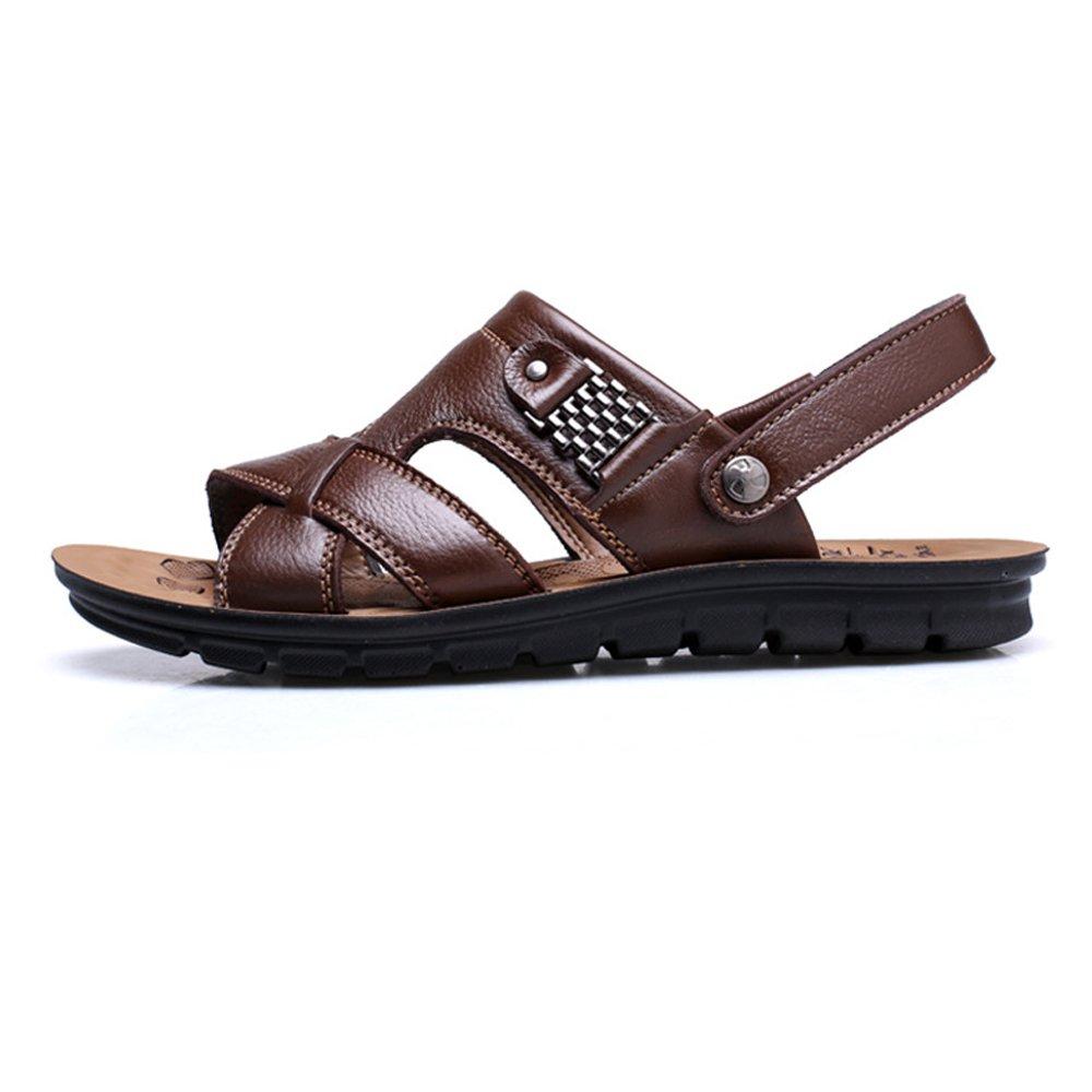 Sunny&Baby Zapatos de los hombres Chancletas Sandalias planas suaves de cuero genuino de la playa para caballeros No envío ( Color : DarkBrown , Size : 46 EU ) 46 EU|Darkbrown