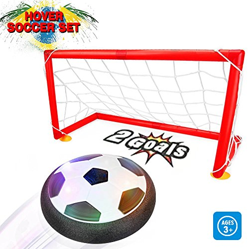 Kids Toys - Air Power Soccer Set with 2 Goals,Warmstore Boys Girls Sport Toys Training Football Indoor Outdoor Disk Hover Ball Game with LED Light Up Toys Children Sports Games Gift (Sports Toys For 2 Year Old Boy)
