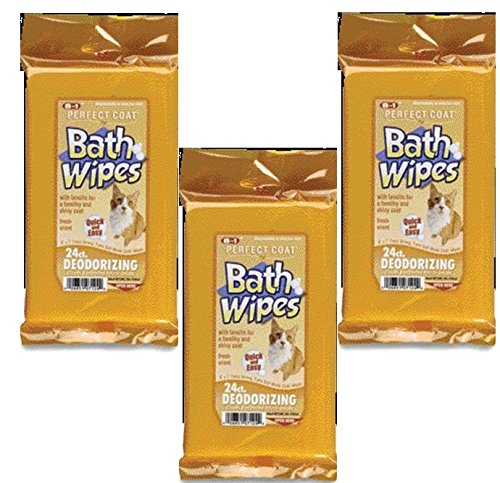 (3 Pack) Perfect Coat Deodorizing Bath Wipes for Cats, 24 Count each by Perfect Coat