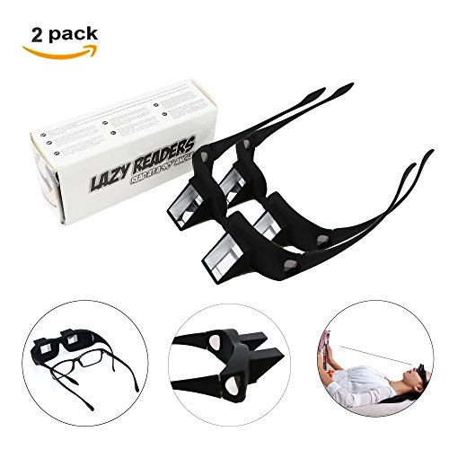 Lazy Prison Readers Glasses Readers Horizontal Spectacles Laying Down Flat Bed for Read/Watch TV Book Phone ipad Tablet, Black, Gift for Parents Friends Children We Pay Your Sales Tax(2 Pack)