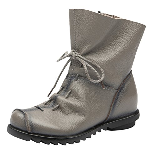 Style3 Vintage Boots Leather Women Grey Zip Floral Shoes Fleece MatchLife wBqg05Cn