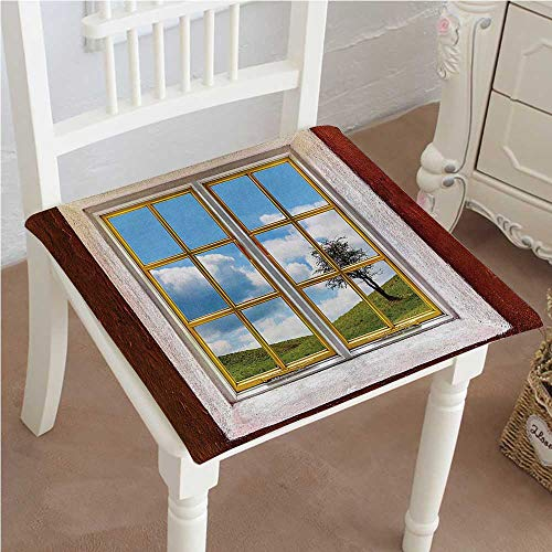 Office Cottage Modular (Chair Seat Pads Cushions View Of A Meadow Grass With Tree Through Window Countryside Rural Cottage Flourishing Square Car and Chair Cushion / Pad With Ties, Soft, For Indoors Or Outdoor 32