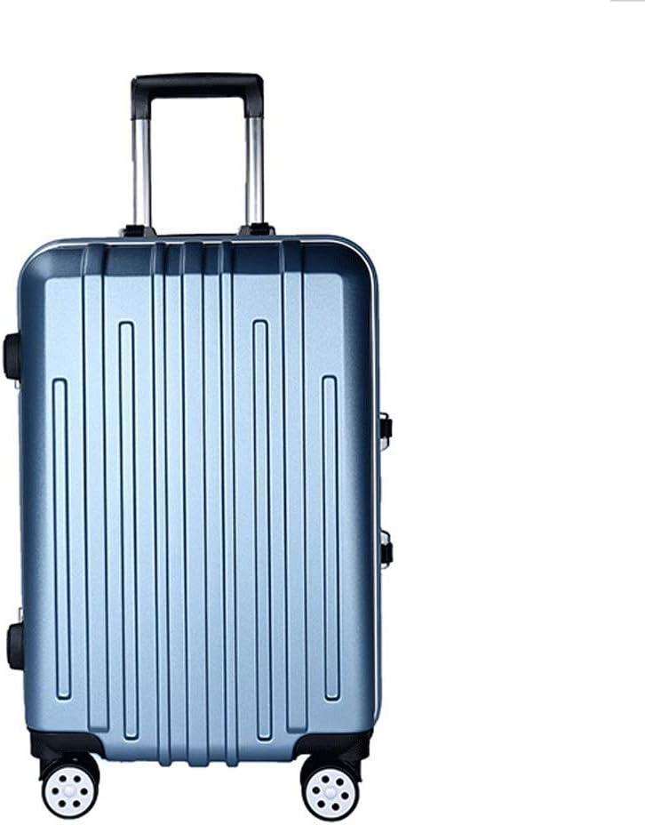 AHJSN 24 Quot; Maleta Simple diseño de Rayas telescópico Pull Rod Spinner Hardshell Ligero contraseña Lock Travel House-Moving, Azul (Azul) - 9639435986620