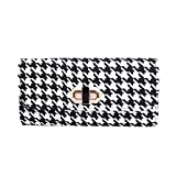 Classic Houndstooth Turnlock Flap Straw Clutch Bag Handbag, Black & White