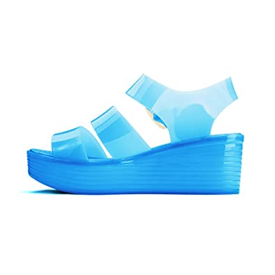 eecacc2dbe07 Chemistry Jelly Platform Wedge Flatform Heel Sandals Adjustable Strap Upper  Low Top Woman Shoes Blue (