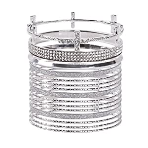 VK Accessories Multi Layered Bangles Mixed Silve Tone Shiny Bracelets Set of 14 Pcs with Cross Crystal Design