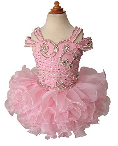 G.CHEN ChengCheng Toddler Baby Girls Short Party Gowns Pageant Cupcake Dresses 2 US Pink ()
