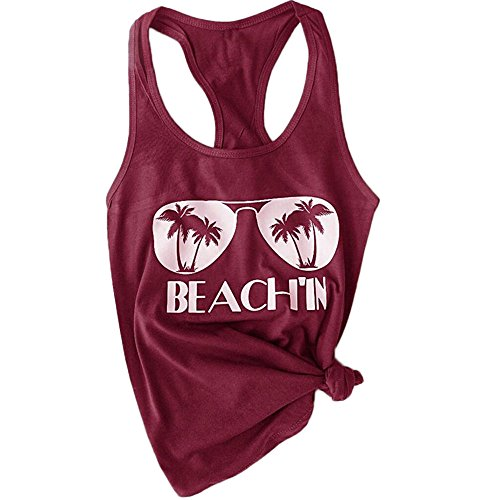 (HGWXX7 Women's Summer Casual Plus Size Sleeveless Beach Blouses Shirt Tank Tops (XXL, Red))