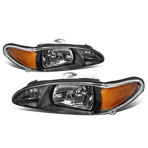 For 97-02 Ford Escort 4-Door Black Housing Amber Corner Headlight/Lamp - Pair