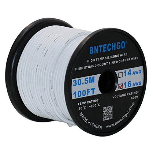 BNTECHGO 16 Gauge Silicone Wire Spool White 100 feet Ultra Flexible High Temp 200 deg C 600V 16 AWG Silicone Rubber Wire 252 Strands of Tinned Copper Wire Stranded Wire for Model Battery Low Impedance (White 16g Wire)