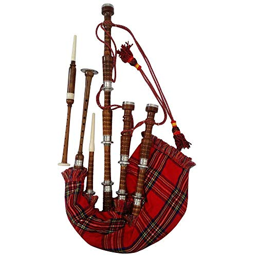 AAR Scottish Bagpipe Rosewood Royal Stewart Tartan Natural Color with Silver Plain Mounts Free Tutor Book, Carrying Bag, Drone, Reeds(USA)
