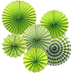 KEZAY Paper Fan Flower Hanging Set,Green Round Pattern Paper Garlands Decoration for Birthday Wedding Graduation Party Decorations 6pcs