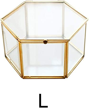 youngfate Joyero de cristal dorado geométrico, caja transparente para anillos para plantas para bodas y fiestas, decoración: Amazon.es: Hogar