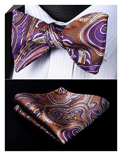 Enmain Men's Paisley Floral Bowtie Jacquard Woven Party Self Bow Tie Set Brown/Purple ()