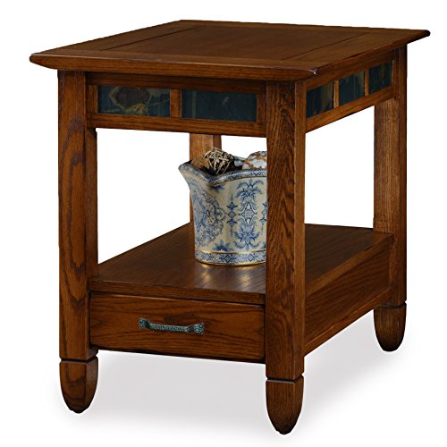 - Slatestone  Oak Storage End Table - Rustic Oak Finish