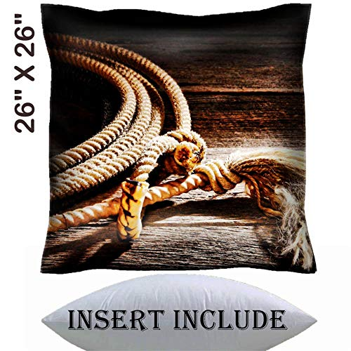 26x26 Throw Pillow Cover with Insert - Satin Polyester Pillow Case Decorative Euro Sham Cushion for Couch Bedroom Handmade IMAGE 25849586 American West rodeo authentic cowboy lariat lasso honda no ()