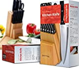 Utopia Kitchen 12 Knives Set with Wooden Block - 430 Grade Stainless Steel - Chef Knife, Bread Knife, Carving Knife, Utility Knife, Paring Knife, Steak Knives and Scissors