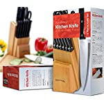 Utopia Kitchen Stainless Steel Knife Block Set 13 Piece Set - Rubber Wood Block 8 13 piece knife set comes with conservative blade thickness and has an elite design that allows for easy handling of the knives Knife blades are made from 2Cr13NH grade stainless steel Polypropylene plastic is used on the handles which possesses high flexural strength because of its semi-crystalline nature. it is resistant to moisture and chemicals, over a wide range of bases and acids