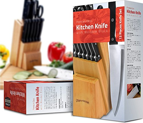 Utopia Kitchen Stainless Steel Knife Block Set 13 Piece Set - Rubber Wood Block 2 13 piece knife set comes with conservative blade thickness and has an elite design that allows for easy handling of the knives Knife blades are made from 2Cr13NH grade stainless steel Polypropylene plastic is used on the handles which possesses high flexural strength because of its semi-crystalline nature. it is resistant to moisture and chemicals, over a wide range of bases and acids