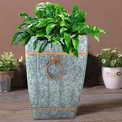 Shalimar Showrooms Square Galvanized Metal Accent Vase, Silver with Copper Trim, 12.50